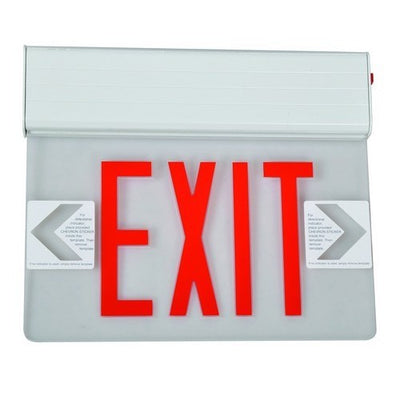 Surface Mount Edge Lit Exit Sign Double Sided Legend Red LED White Housing