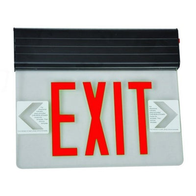 Surface Mount Edge Lit Exit Sign Double Sided Legend Red LED Black Housing