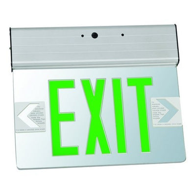 Surface Mount Edge Lit Exit Sign Double Sided Legend Green LED Aluminum Housing