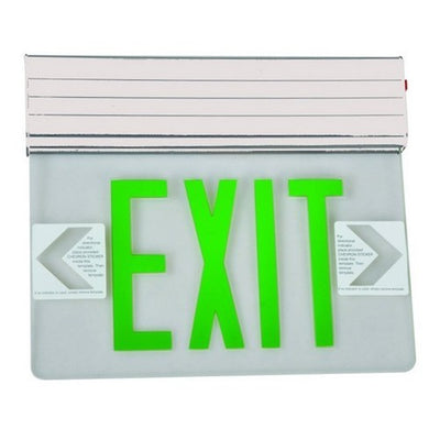 Surface Mount Edge Lit Exit Sign Double Sided Legend Green LED White Housing