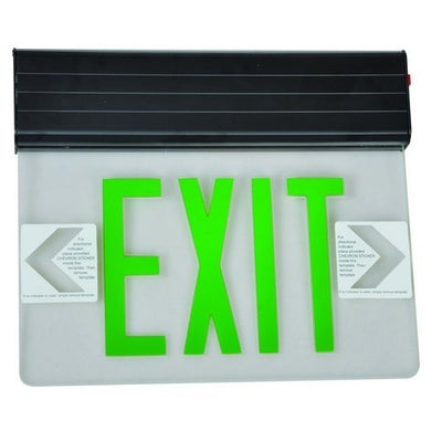 Surface Mount Edge Lit Exit Sign Double Sided Legend Green LED Black Housing