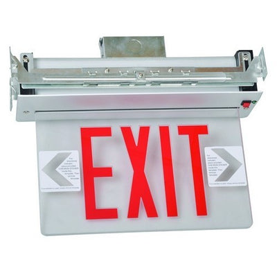 Recessed Mount Edge Lit Exit Sign Single Sided Legend Red LED Aluminum Housing