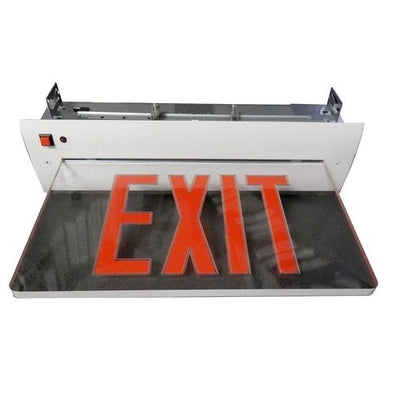 Recessed Mount Edge Lit Exit Sign Single Sided Legend Red LED White Housing