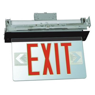 Recessed Mount Edge Lit Exit Sign Single Sided Legend Red LED Black Housing