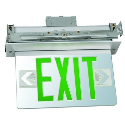 Recessed Mount Edge Lit Exit Sign Double Sided Legend Green LED Aluminum Housing