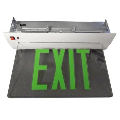 Recessed Mount Edge Lit Exit Sign Single Sided Legend Green LED White Housing