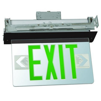 Recessed Mount Edge Lit Exit Sign Single Sided Legend Green LED Black Housing