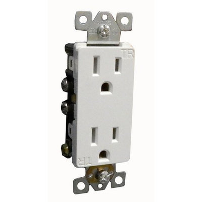 Decorative Tamper Resistant Duplex Receptacle White 15A-125V