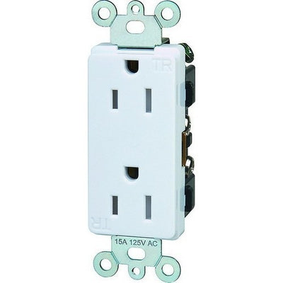 Decorative Tamper Resistant Commercial Grade Duplex Receptacle 15A-125V White