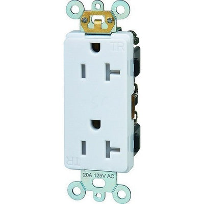 Decorative Tamper Resistant Commercial Grade Duplex Receptacles 20A-125V White