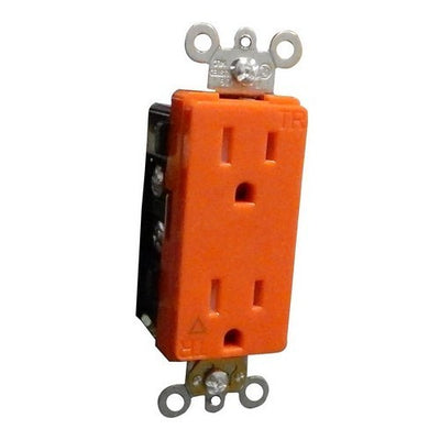 Decorative Tamper Resistant Isolated Ground Duplex Receptacles 15A-125V Orange