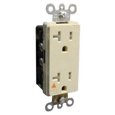 Decorative Tamper Resistant Isolated Ground Duplex Receptacle 20A-125V Ivory