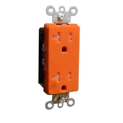 Decorative Tamper Resistant Isolated Ground Duplex Receptacle 20A-125V Orange