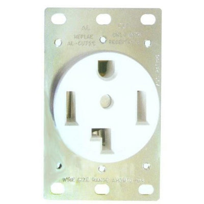 Flush Dryer Receptacle 30A White