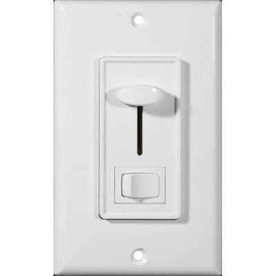 Slide Dimmer With Switch White Single Pole