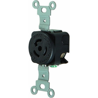 Twist Lock Wall Mount Receptacles, 2 Pole 3 Wire 15A