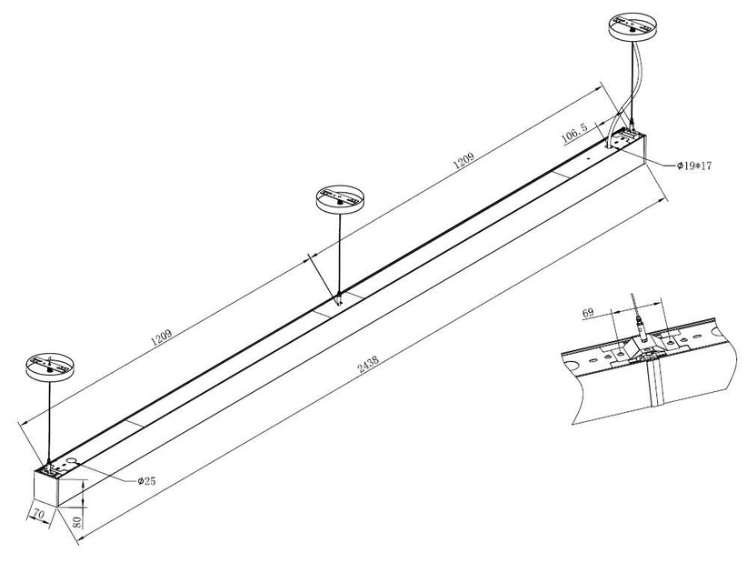 8 Foot Led Direct Indirect Suspended Linear Fixture 120w