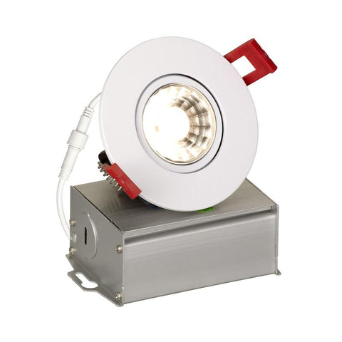 3 Inch Adjustable Canless SnapTrim Downlight, 8 Watt, 120V, Dimmable, White Finish