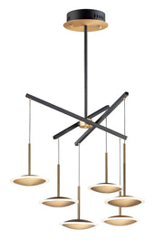 Saucer LED 6-Light Pendant E21546-90BKGLD Chandelier  - Image #1