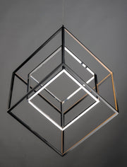 4 Square 2-Light LED Pendant E30586-BKPC Chandelier  - Image #3