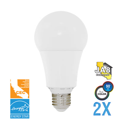 A21 LED 17W Watt Light Bulbs 120V 100W Comparable 2 Value Pack