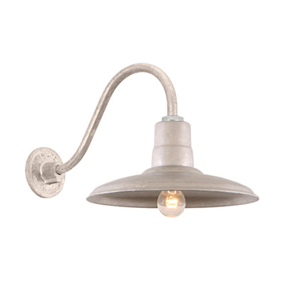 "Hi-Lite 14"" Shallow Dome Warehouse Shade (Galvanized Finish, shown w/ B-1 14.5"" goose neck)"