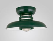 "Hi-Lite Self-Ballasted Cordelia Flush Mount - Dark Green (18"" width, shown with ribbed glass)"