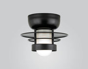 "Hi-Lite Self-Ballasted Saturn Flush Mount - Black (10"" width, shown with frosted glass)  - Image #1"