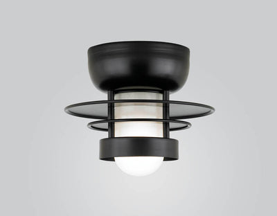 "Hi-Lite Self-Ballasted Saturn Flush Mount - Black (10"" width, shown with frosted glass)"