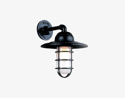 Hi-Lite Saucer Vapor Tight Jar Sconce - Black/Standard (shown with clear glass and shade)