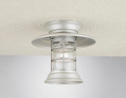 Hi-Lite Saucer Vapor Jar Flush Mount - Brushed Aluminum/Standard (shown with ribbed glass)