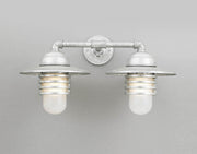Hi-Lite Layered Vapor Tight Jar Double Sconce - Galvanized/Standard (shown with frosted glass and shade)