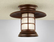 Hi-Lite Saucer Vapor Jar Flush Mount - Rosewood/Large (shown with frosted glass)