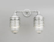 Hi-Lite Layered Vapor Tight Jar Double Sconce - Galvanized/Large (shown with ribbed glass)