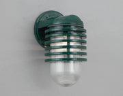 Hi-Lite Layered Vapor Tight Jar Half Sconce - Dark Green/Large (shown with ribbed glass)