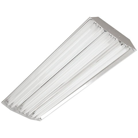 (American Made) 6 Lamp T8 High ballast Factor, Fluorescent high bay lighting fixture, Specular Reflector, 120-277v