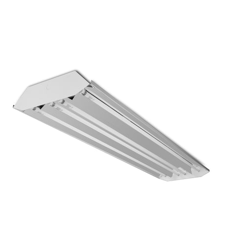 (American Made) 4 Lamp T8 Fluorescent High Bay, with Mirrored Reflector, 120-277V