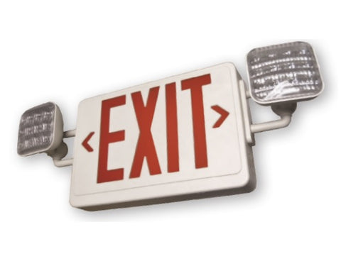LED Exit Sign/Emergency Light with Battery Backup-Single/Double Face, Red or Green Letters