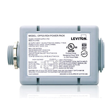 20A Power Pack for Occupancy Sensors, features include Auto ON, Photocell, Latching Relay; Line Voltage Input: 120/208/220/230/240/277V, Color: Gray