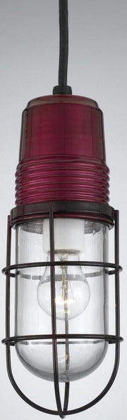PW1 Series Ceiling Hung Vapor Jar, Trans. Wine Finish w/ Clear Glass