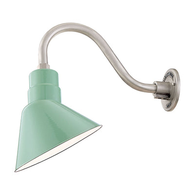 "Millennium Lighting RLM Porcelain Angle Shade - Sea Foam (Shown with 14.5"" Goose Neck)"