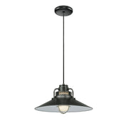 "Millennium Lighting 18"" RLM/ Cord Hung Railroad Shade - Satin Black"