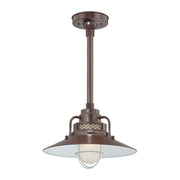 "Millennium Lighting 14"" RLM/ Stem Hung Railroad Shade - Architectural Bronze (Shown with canopy kit and 12"" stem)"