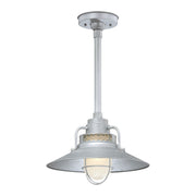 "Millennium Lighting 14"" RLM/ Stem Hung Railroad Shade - Galvanized (Shown with canopy kit and 12"" stem)"
