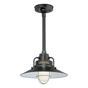"Millennium Lighting 14"" RLM/ Stem Hung Railroad Shade - Satin Black (Shown with canopy kit and 12"" stem)"