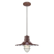 "Millennium Lighting 15"" RLM/ Cord Hung Radial Wave Shade - Architectural Bronze  - Image #4"