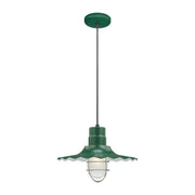 "Millennium Lighting 15"" RLM/ Cord Hung Radial Wave Shade - Satin Green  - Image #5"