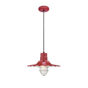 "Millennium Lighting 15"" RLM/ Cord Hung Radial Wave Shade - Satin Red  - Image #1"