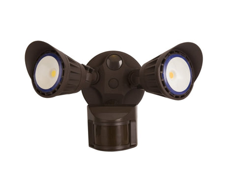 2-Head LED Security Light w/ PIR Sensor, Bronze or White Finish