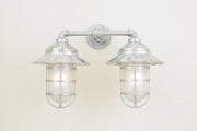 "Hi-Lite Radial Vapor Jar Double Sconce - Glavanized/Standard (shown with 9.5"" Shade and Frosted Glass)"